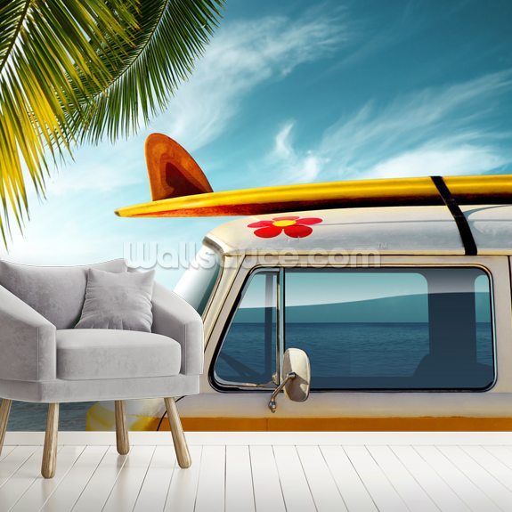Surf Board Camper Van wallpaper mural room setting
