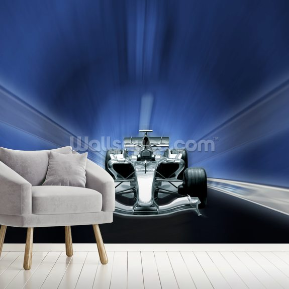 Racing Car mural wallpaper room setting