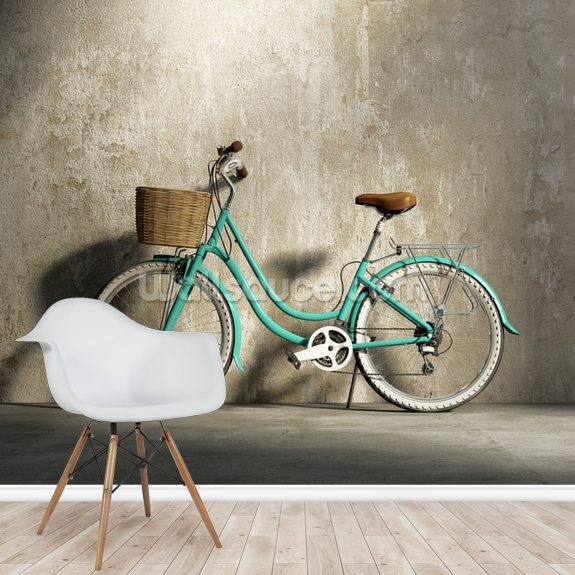 Old Green Bicycle wallpaper mural room setting