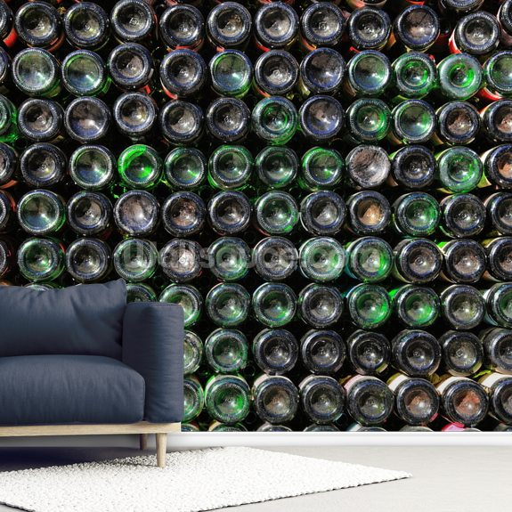 Old Wine Bottles wallpaper mural room setting