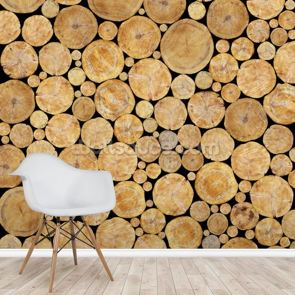 Stacked Logs Texture wall mural room setting