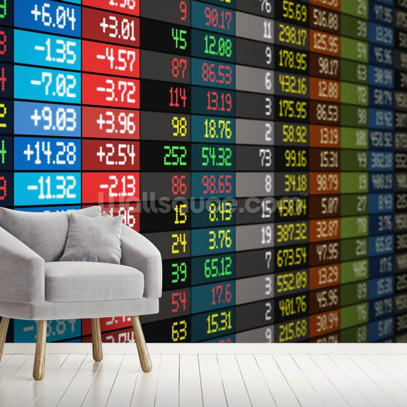 Financial Data mural wallpaper room setting