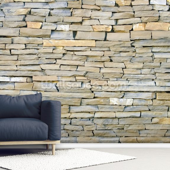 Stone Wall - Grey wallpaper mural room setting