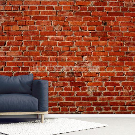 Red Brick Wall Mural Wallpaper Room Setting