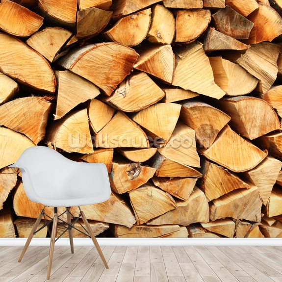 Pile of Split Wood mural wallpaper room setting