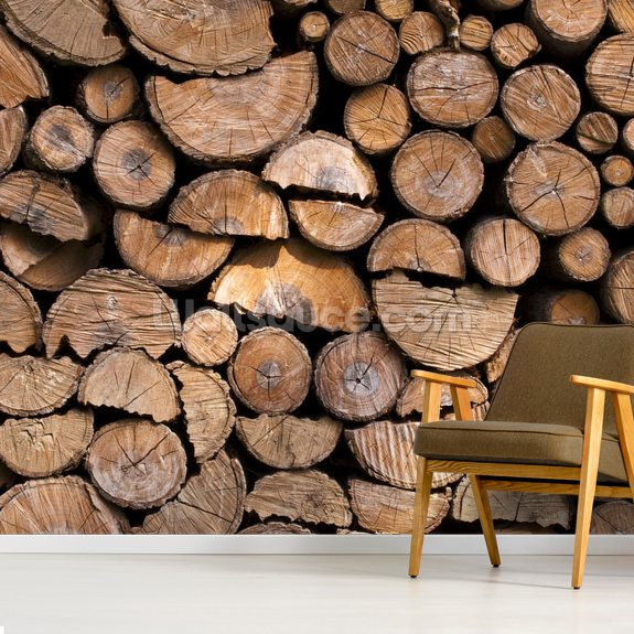 Log Pile Wall wall mural room setting