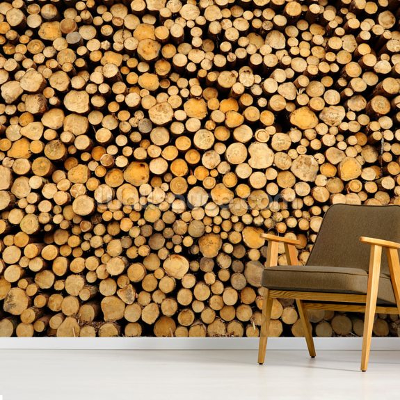 Small Stacked Logs wallpaper mural room setting