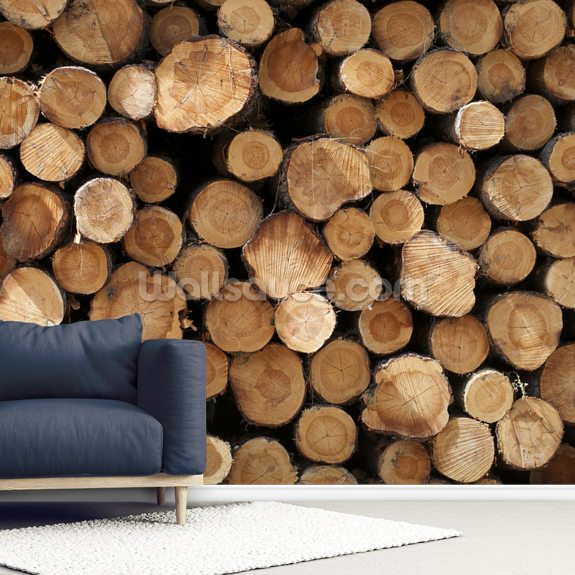 Log Pile wall mural room setting