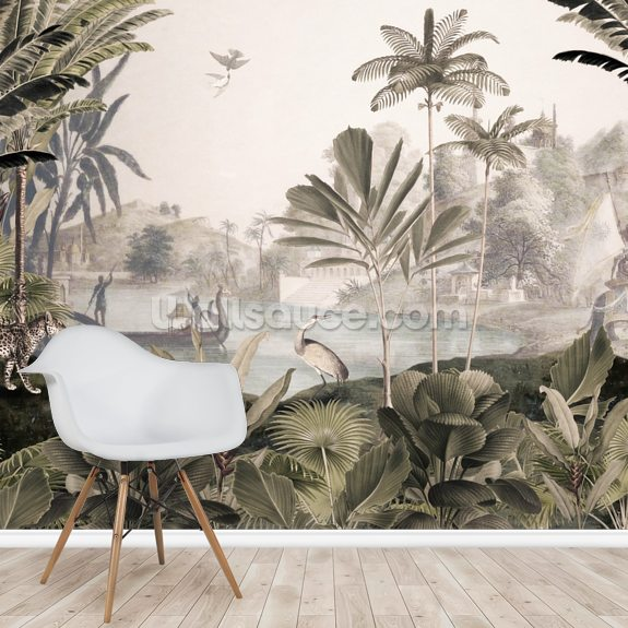 Leopard Landscape wallpaper mural room setting