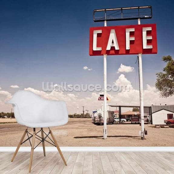 Route 66 Cafe wallpaper mural room setting