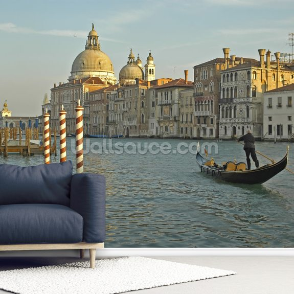 Grand Canal Gondola mural wallpaper room setting