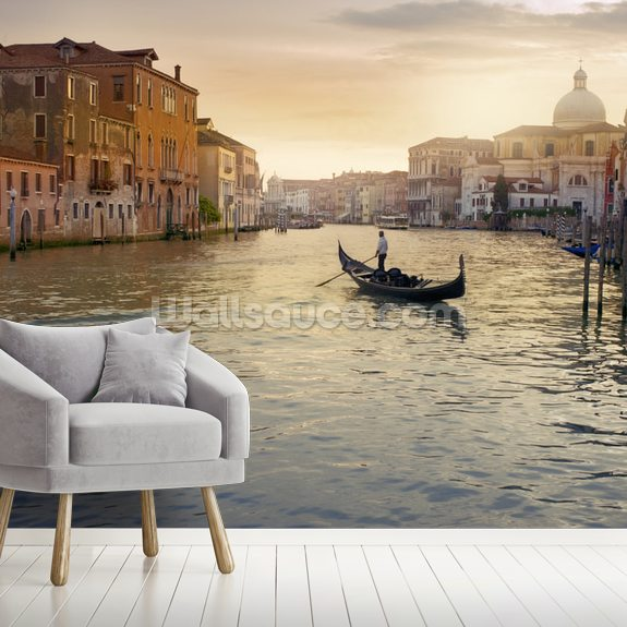 Venice Gondolier wall mural room setting