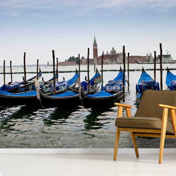 Blue Gondolas mural wallpaper room setting