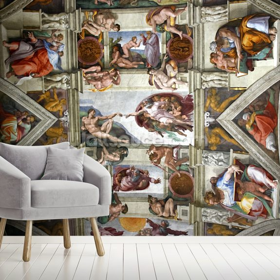 Rome's Sistine Chapel mural wallpaper room setting