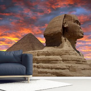 Pyramid and Sphinx at Sunset Wallpaper Wall Murals
