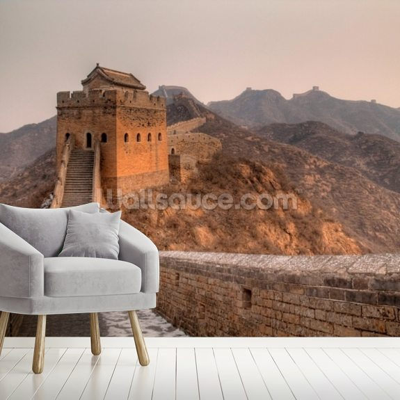 Great Wall of China Tower wallpaper mural room setting