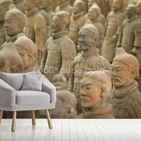 Terracotta Warriors mural wallpaper room setting