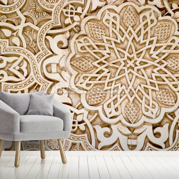 Alhambra Moorish Carved Stone mural wallpaper room setting
