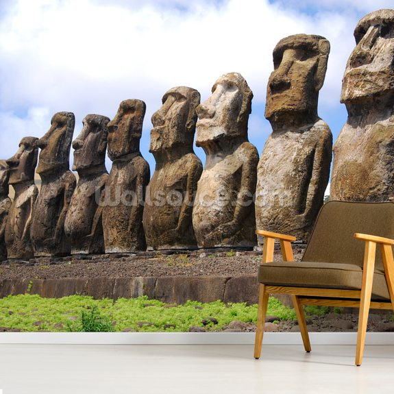 Easter Island mural wallpaper room setting