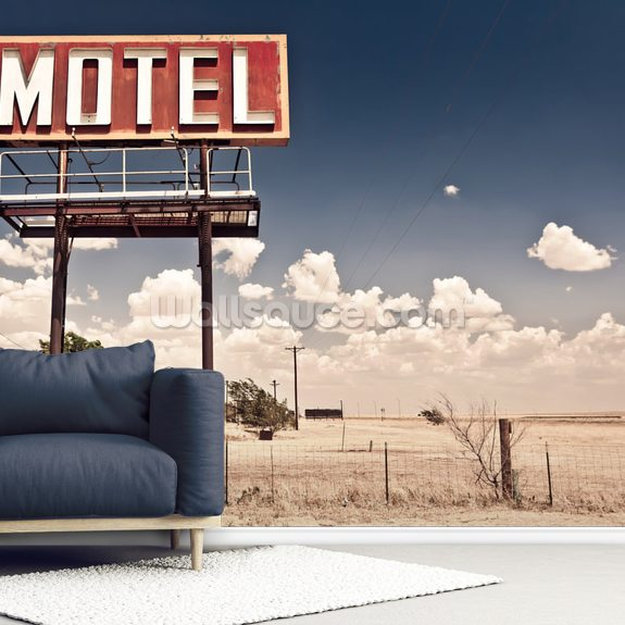 Vintage Route 66 Motel wallpaper mural room setting