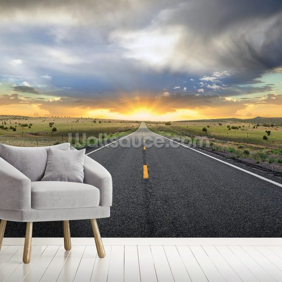 Highway Sunset mural wallpaper room setting
