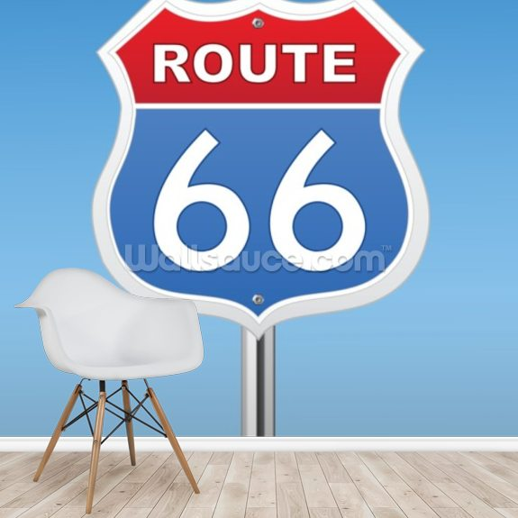Route 66 wall mural room setting