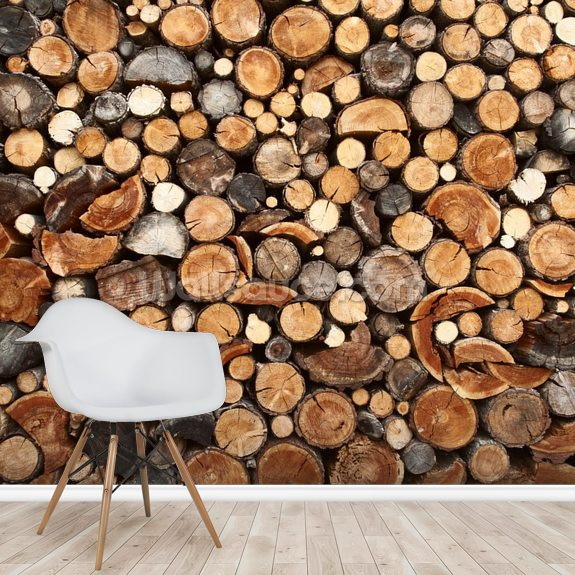 Pile of Fire Wood mural wallpaper room setting