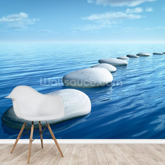 Stepping Stones wallpaper mural room setting