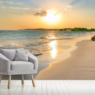 Tranquil Beach Sunset Wallpaper Wall Murals