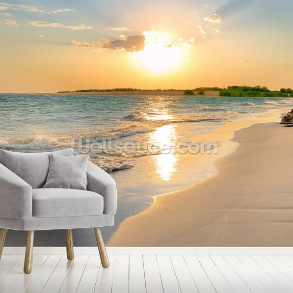 Tranquil Beach Sunset wallpaper mural room setting