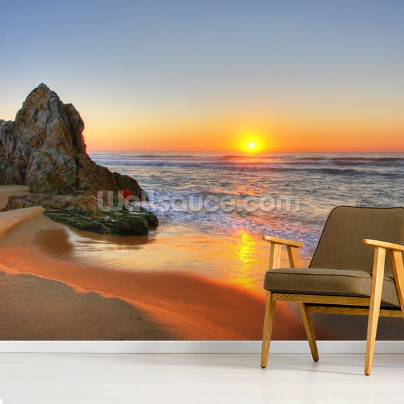 Sunrise Rocks mural wallpaper room setting