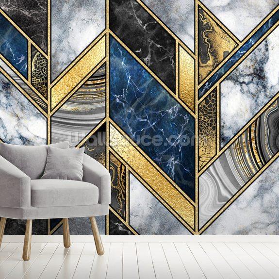 Navy And Gold Art Deco Wallpaper Wallsauce Nz