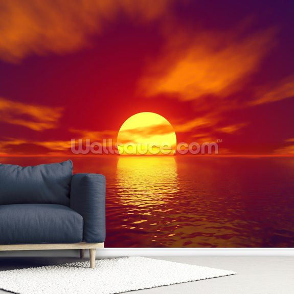 Red Sunset mural wallpaper room setting