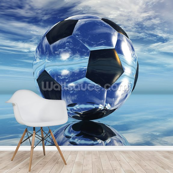 Aqua Football wallpaper mural room setting