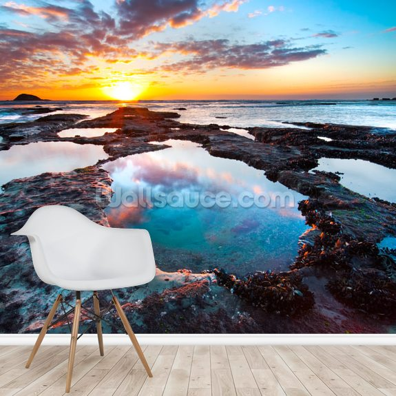 Maori Bay Sunset mural wallpaper room setting
