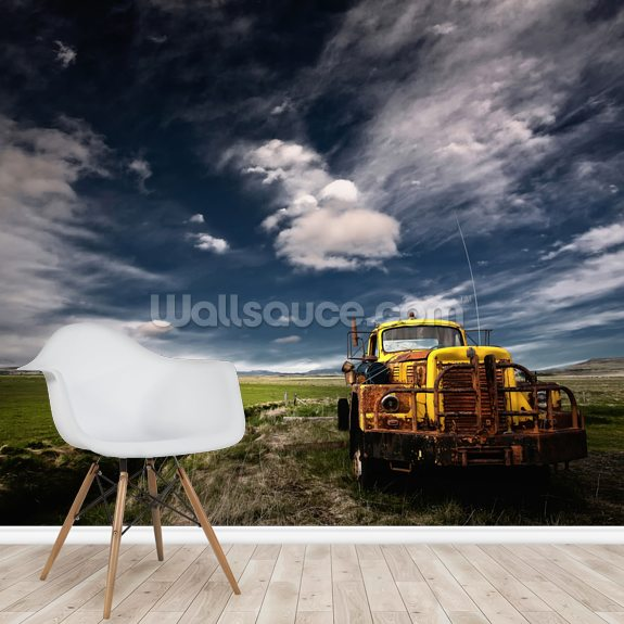 Yellow Truck wallpaper mural room setting