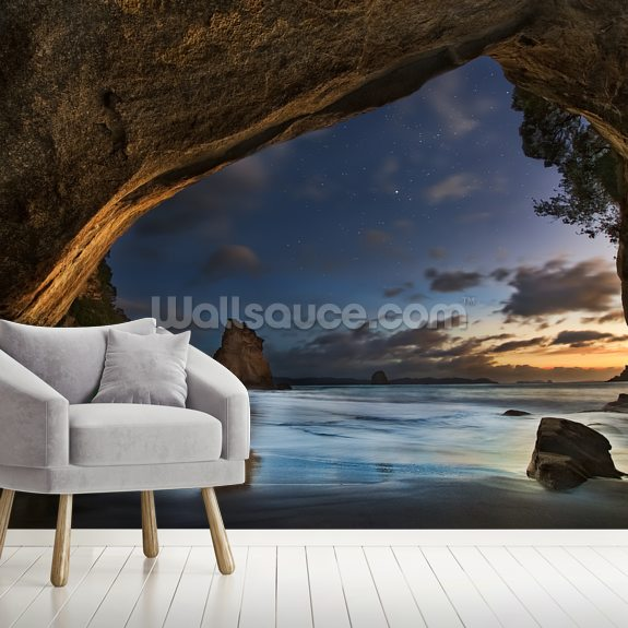 Cathedral Cove wall mural room setting