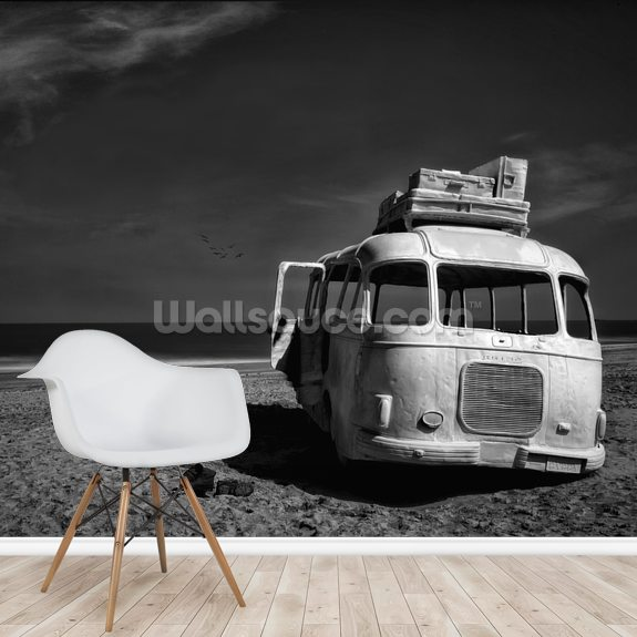 Beached Bus wallpaper mural room setting