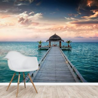 Maldives Jetty Sunrise Wallpaper Wall Murals