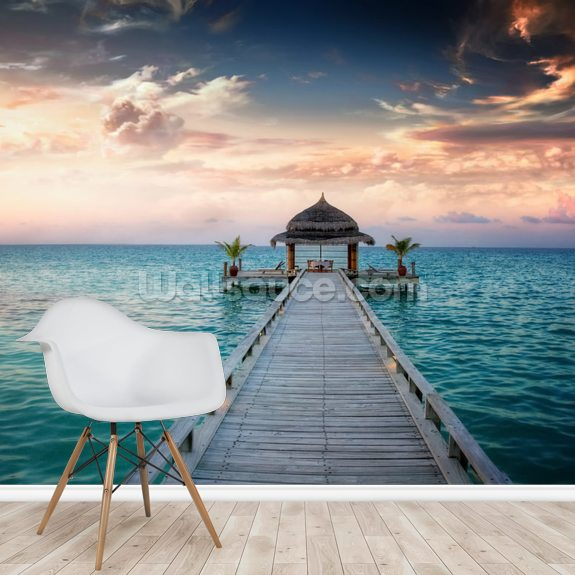 Maldives Jetty Sunrise wallpaper mural room setting