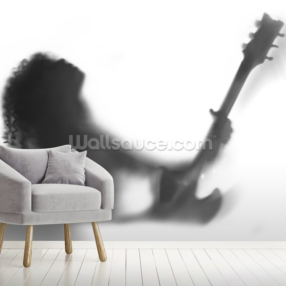 Guitar Solo mural wallpaper room setting