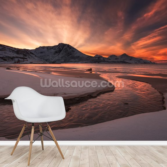 Golden Sunset wallpaper mural room setting