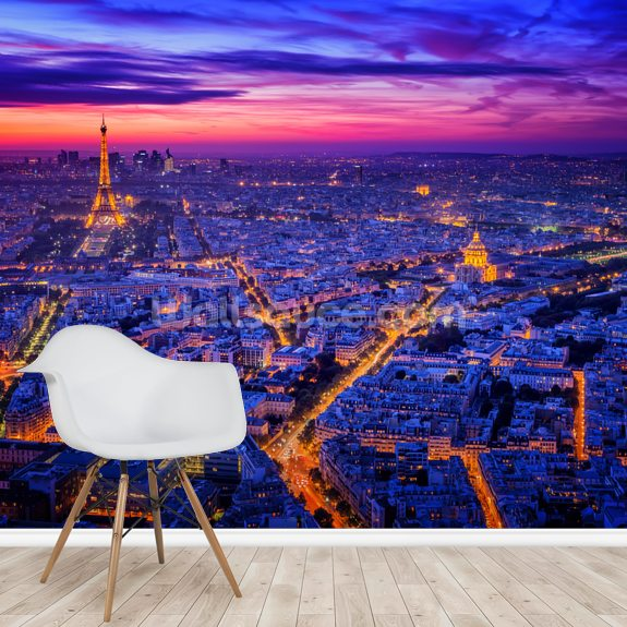 Paris Blues mural wallpaper room setting