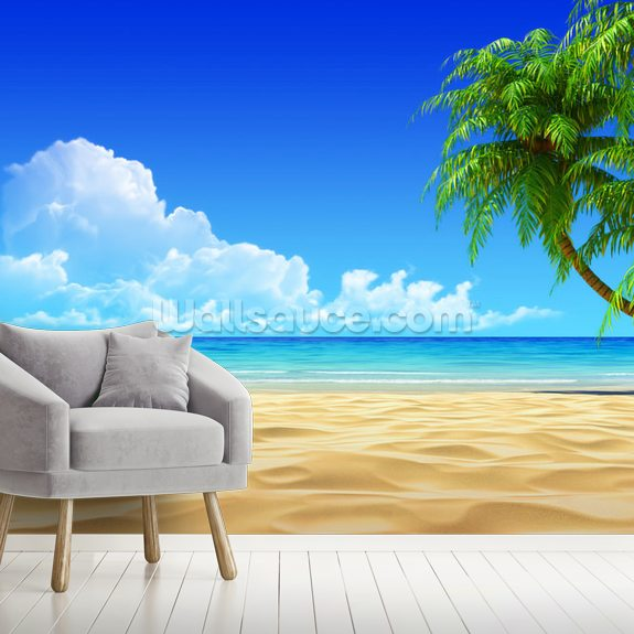 Palms on Empty Idyllic Tropical Beach mural wallpaper room setting