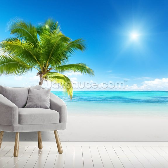Palm and Sea wallpaper mural room setting