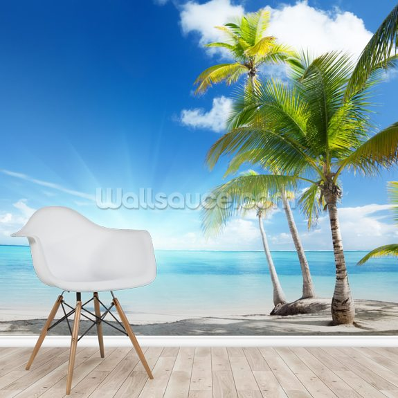 Caribbean Sea wall mural room setting