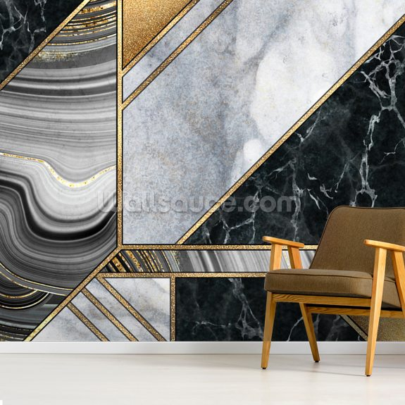 Gold and Grey Marble wall mural room setting