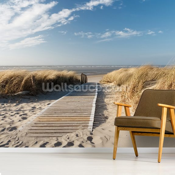 Windswept Beach Boardwalk wall mural room setting