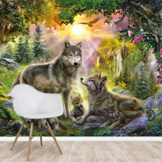 Autumn Wolf Family Wallpaper Wall Murals