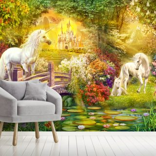 Enchanted Garden Unicorns Wallpaper Wall Murals